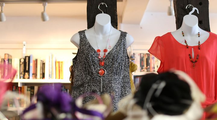 Clothes in the St Nicholas Hospice Care charity shop