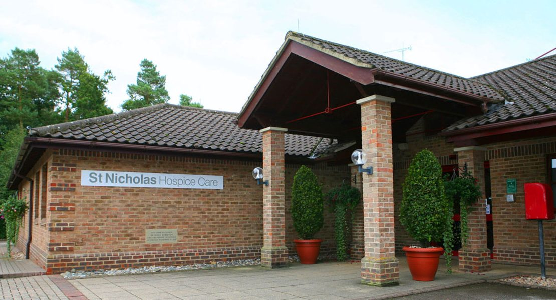 front of the st nicholas hospice care building in Bury St Edmunds