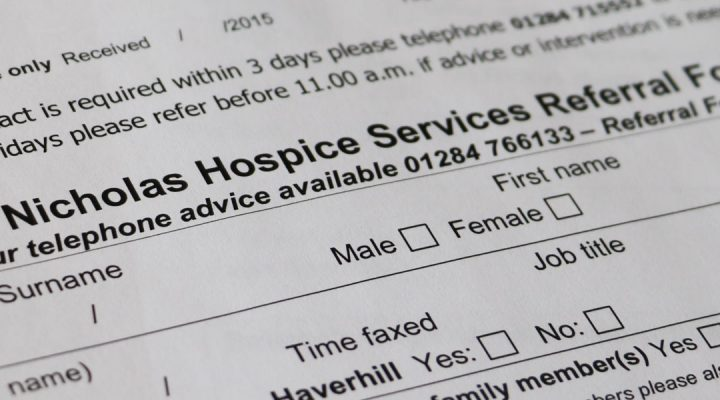 image of st nicholas hospice care referal form
