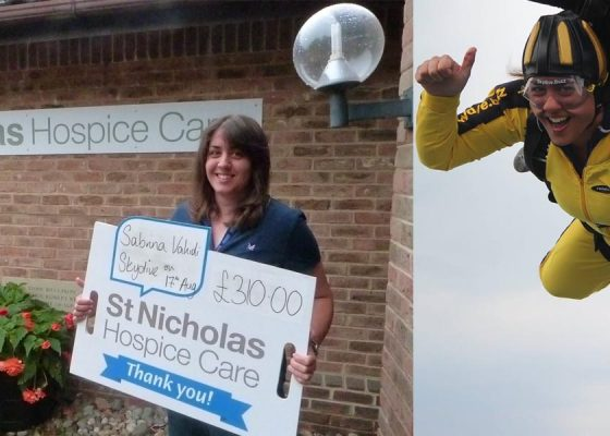 Sabrina takes the plunge for Hospice with a sponsored Skydive