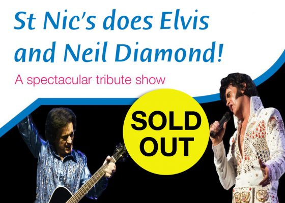 Images of tribute act dressed as Neil Diamond and Elvis Presley with the words sold out overlaid