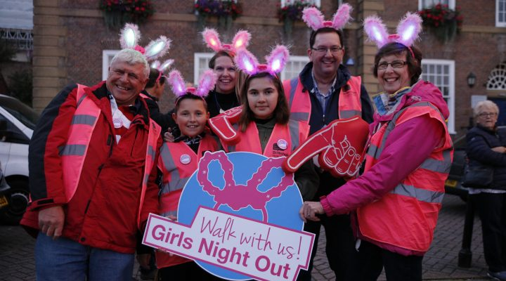 Volunteers on Angel Hill at Girls Night Out
