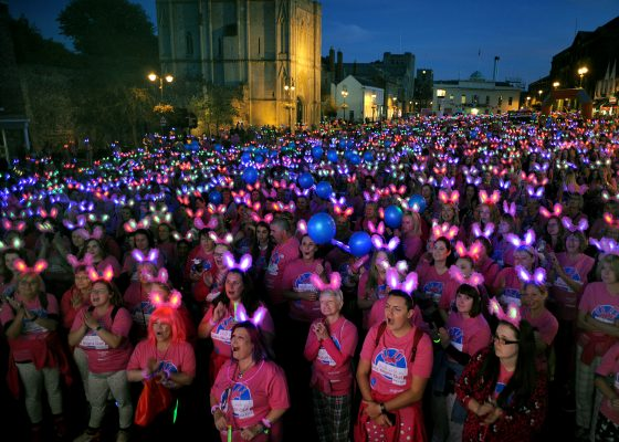 Flashing bunny ears light up town as walkers raise thousands for hospice