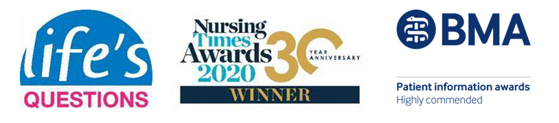 banner showing the life's questions logo, nursing times award logo and the BMA logo