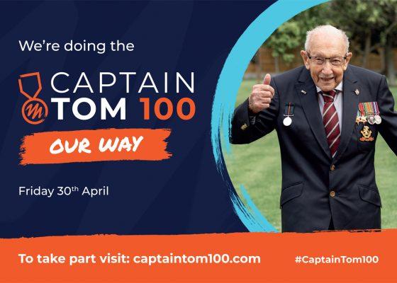 Portrait of Captain Tom alongside the words Captain Tom 100, Our Way