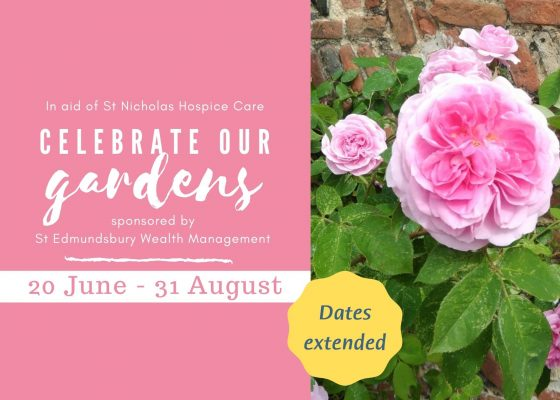 Pink flowers alongside Celebrate Our Gardens event details