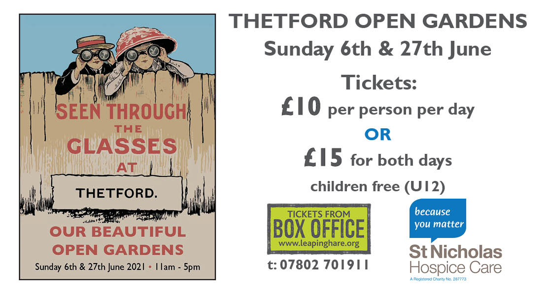 thetford open gardens poster and event details