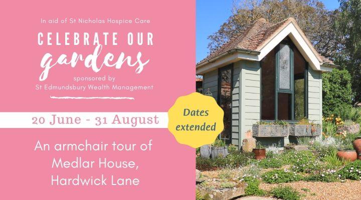 Back garden of Medlar House alongside Celebrate Our Gardens event details