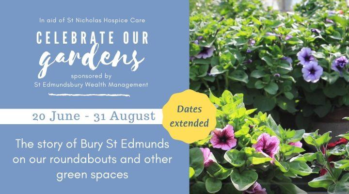 Hanging baskets of flowers alongside Celebrate Our Gardens event details