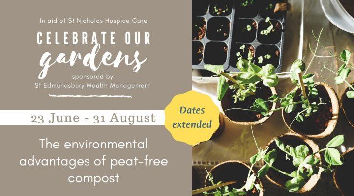 Plants in compost alongside Celebrate Our Gardens event details