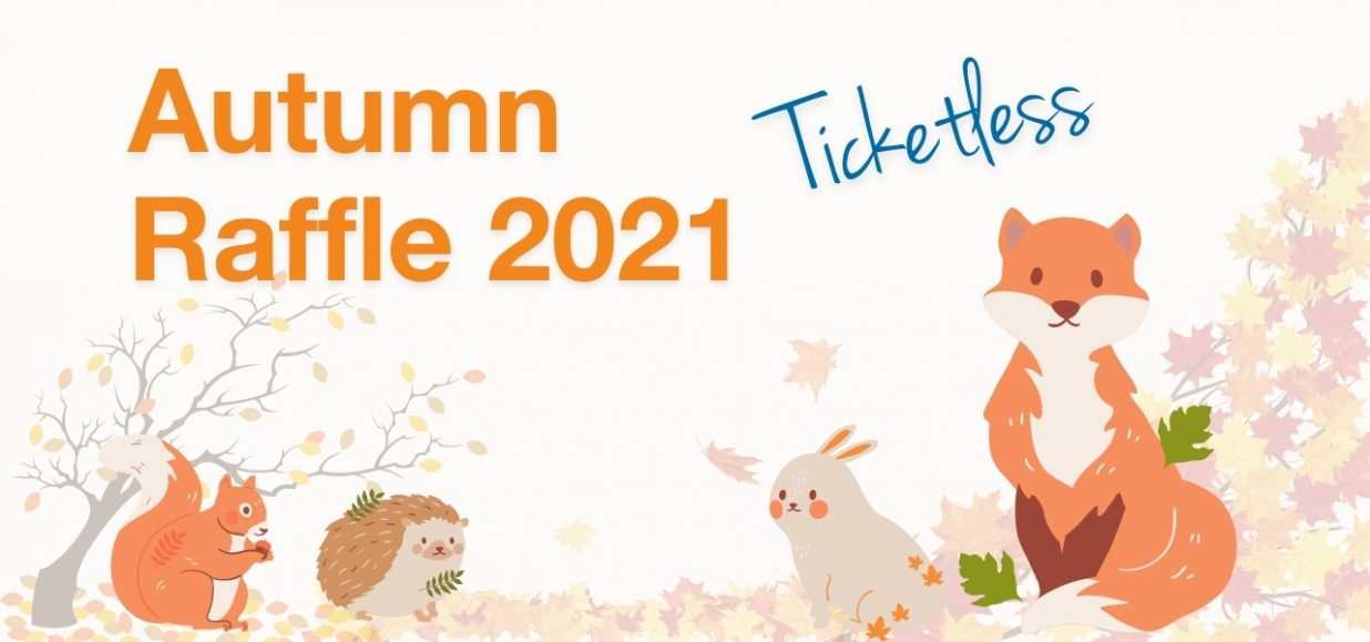 woodland animals and scene with the words ticketless autumn raffle 2021