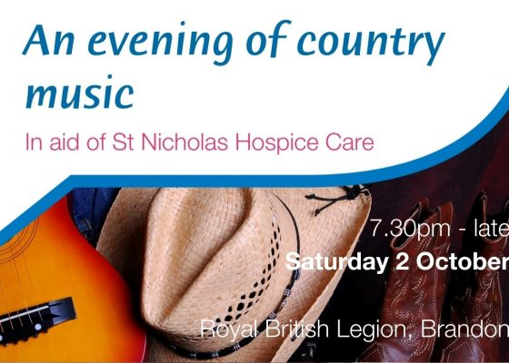 guitar, cowboy hat and boots advertising an evening of country music in aid of St Nicholas Hospice Care